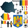 Romania map - Stock Vector