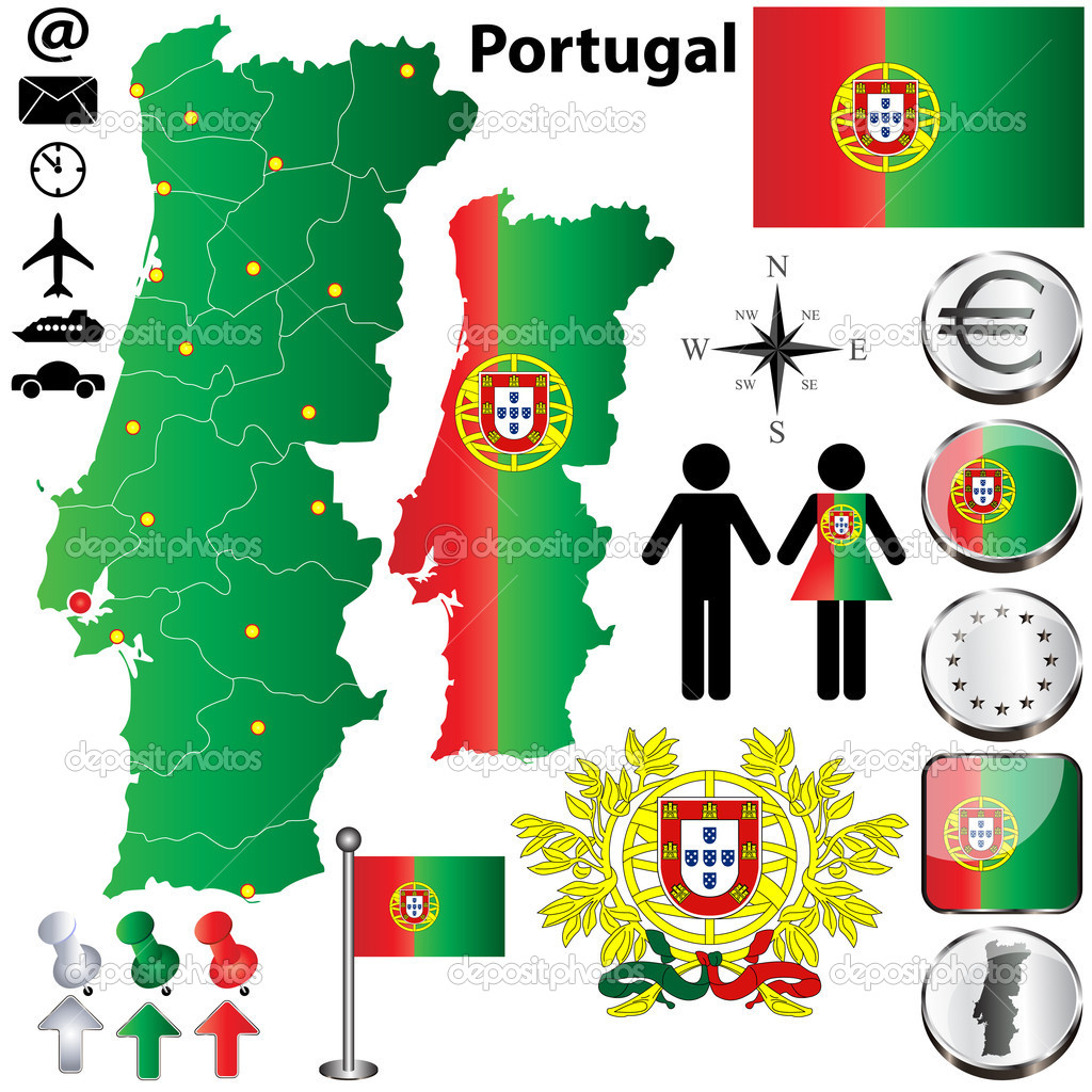 葡萄牙国旗 国徽; 葡萄牙国旗地图矢量素材