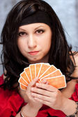 Gypsy woman with cards — Stock Photo