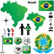 Brazil map - Stock Vector