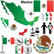 Stock Vector: Mexico map with regions
