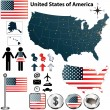 Stock Vector: Map of USA