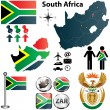 South Africa map with regions — Stock Vector