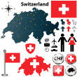 Stock Vector: Map of Switzerland with regions