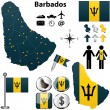 Stock Vector: Barbados map