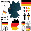 Stock Vector: Map of Germany with regions