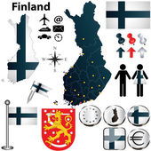 Map of Finland with regions — Stock Vector