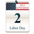 Kalender för labor day — Stockvektor