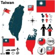 Map of Taiwan — Stock Vector