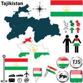 Map of Tajikistan — 图库矢量图片