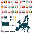 European Union with Croatia — Stock Vector