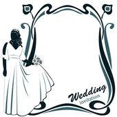 Invitation with Wedding pair — Stock Vector