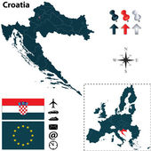 Map of Croatia with European Union — Stock Vector