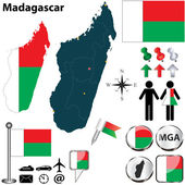 Karta över Madagaskar — Stockvektor
