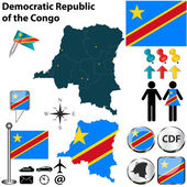 Map of Democratic Republic of the Congo — Stock Vector