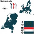 Map of Netherlands with European Union — Imagens vectoriais em stock