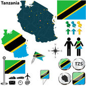 Map of Tanzania — Stock Vector