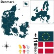 Map of Denmark with European Union — Stock Vector #33221021