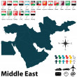 Political map of Middle East — Stock Vector