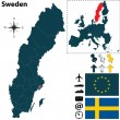 Map of Sweden with European Union — Stock Vector