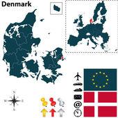 Map of Denmark with European Union — Stock Vector