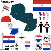 巴拉圭的地图 — 图库矢量图片