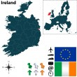 Map of Ireland with European Union — Stock Vector