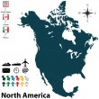 Political map of North America — Stockvektor