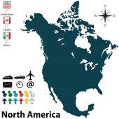 北美地区的政治地图 — 图库矢量图片