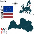 Map of Latvia with European Union — Stock Vector