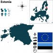 Map of Estonia with European Union — Stock Vector