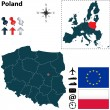 Map of Poland with European Union — Stock Vector