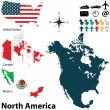 Political map of North America — Imagen vectorial