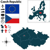 Map of Czech Republic with European Union — Stock Vector