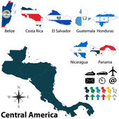 Political map of Central America — Stock Vector