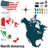 Political map of North America — Stock Vector