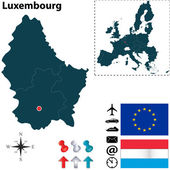 Map of Luxembourg with European Union — Stock Vector