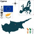 Map of Cyprus with European Union — Stock Vector