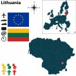 Map of Lithuania with European Union — Stock Vector