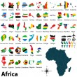 Maps with flags of Africa — Stock Vector #38394105