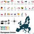 Maps of European Union — Stock Vector