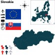 Map of Slovakia with European Union — Stock Vector
