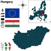 Map of Hungary with European Union — Stock Vector