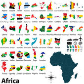 Maps with flags of Africa — Stock Vector