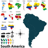Maps of South America — Stock Vector