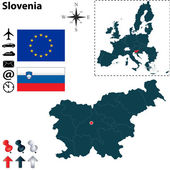 Map of Slovenia with European Union — Stock Vector