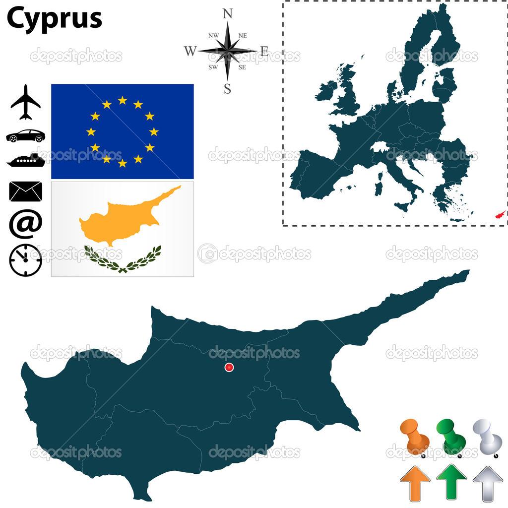 匹配的塞浦路斯与欧洲联盟电子地图