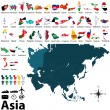 Political maps of Asia — Stock vektor