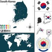 Map of South Korea — Stock Vector