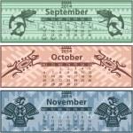 Autumn calendar 2014 with mayan ornaments — Stock Vector